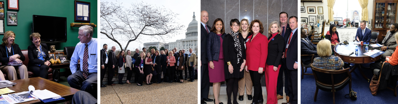 Collection of four images from Foundations on the Hill 2020 featuring meetings in Hill offices and posed shots outside of the Capital.