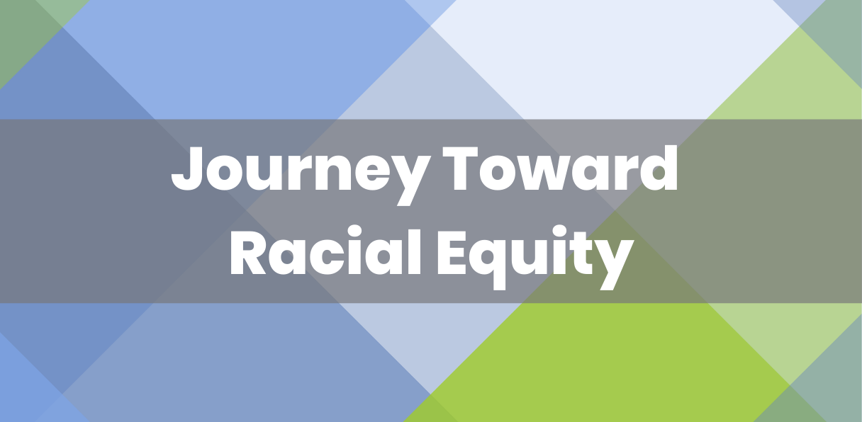 "Background of diamonds in different shades of purple and green with ""Journey Toward Racial Equity"" written overtop."