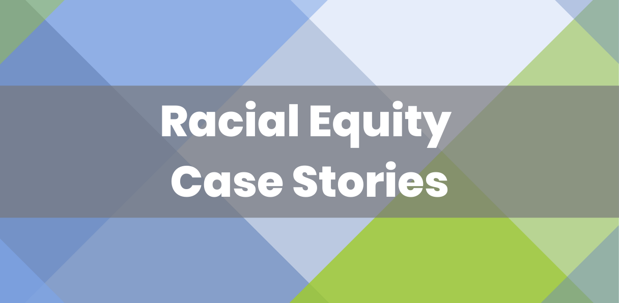 Racial Equity Case Stories overlaid plaid background of purples and greens