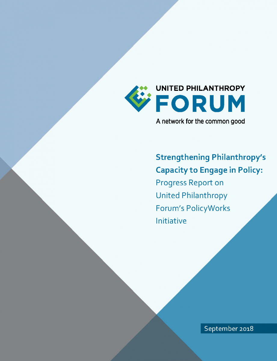 Cover of Strengthening Philanthropy's Capacity to Engage in Policy Report