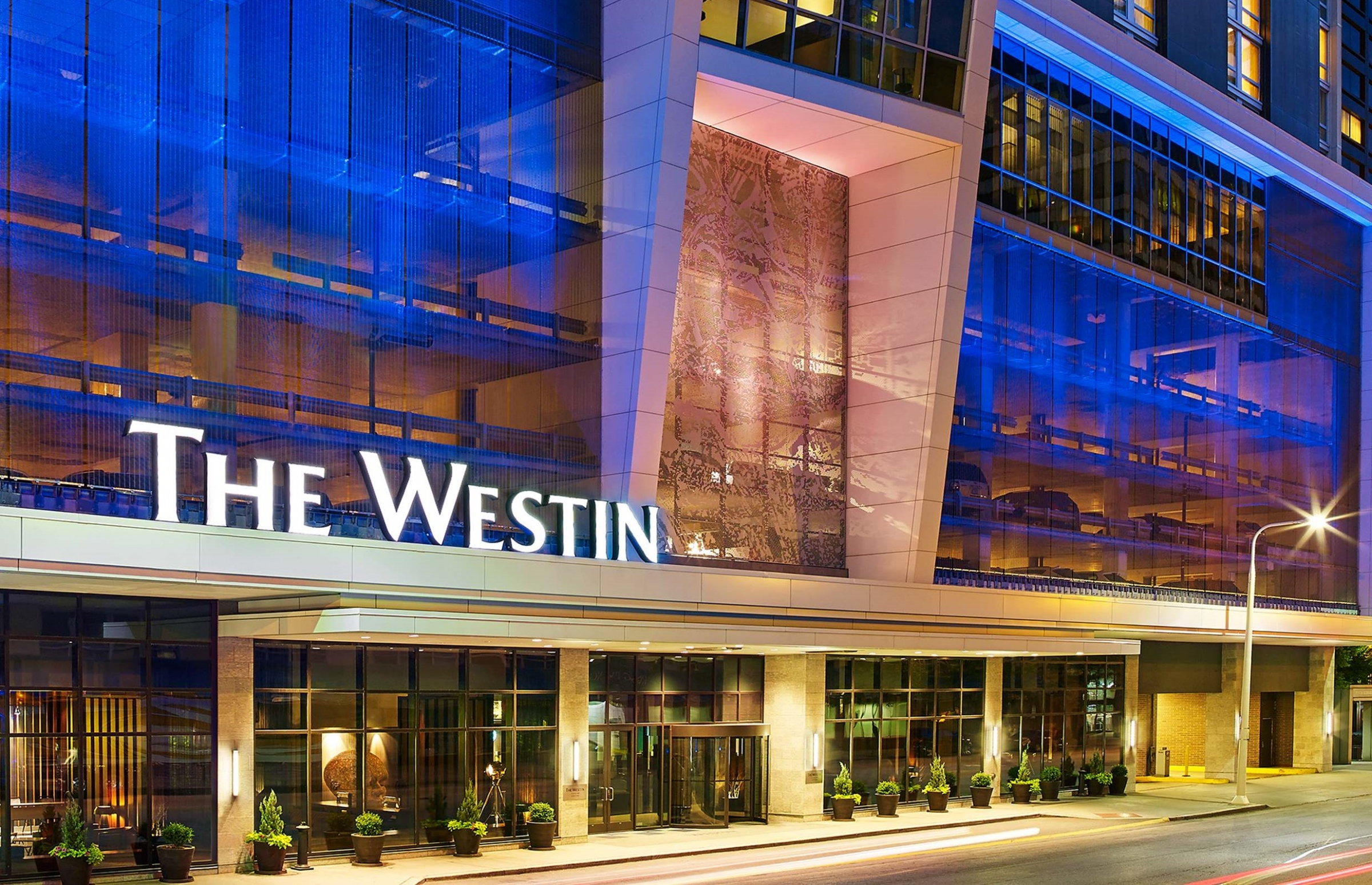 Westin Downtown Cleveland hotel exterior at night